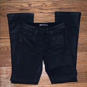 LEVI'S black shiny skinny bootleg mid-rise 4M